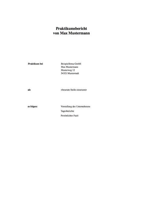 Muster Praktikumsbericht Praktikumsbericht Muster Der Mustermann