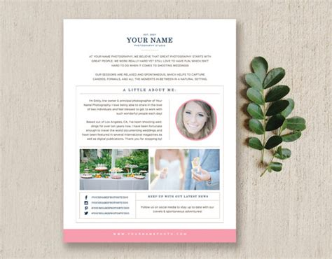 about me page template photography newsletter template email template about me