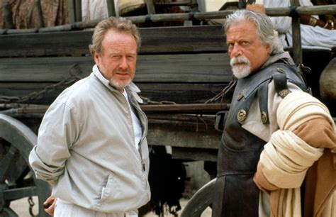 gladiator film director director ridley scott and oliver reed on the set of
