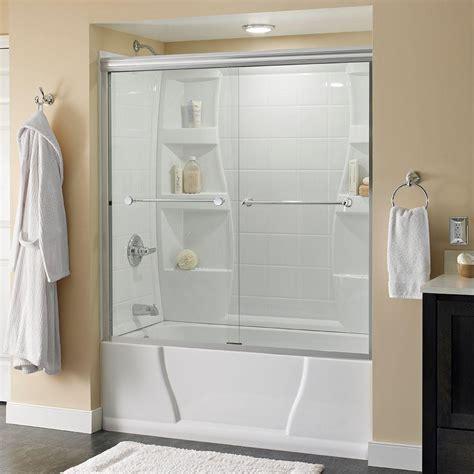 delta crestfield       semi frameless sliding bathtub door  chrome  clear