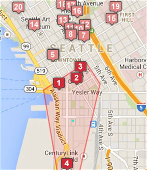 seattle hotels map downtown pioneer square hotels seattle washington wa