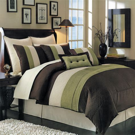 luxury comforters luxury stripe bedding green and brown queen size 8 piece