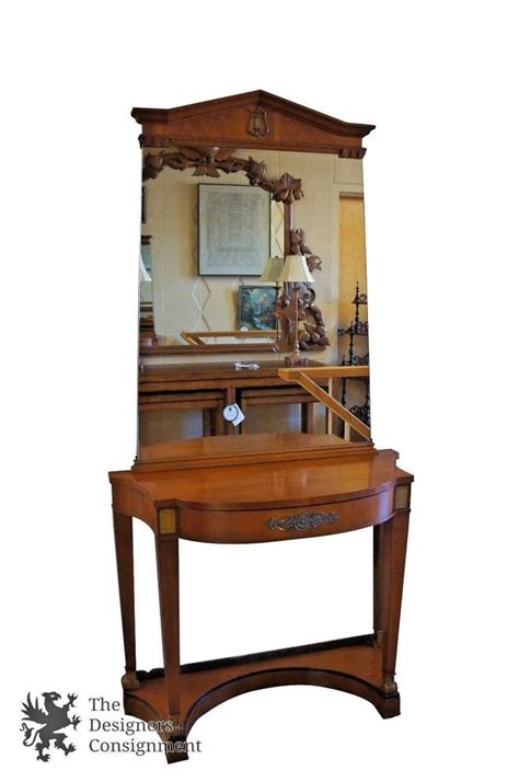 Antique Entryway Table Vintage Cherry Federal Empire Mirrored Entryway Console Table Brass Accents Lyre Ebay