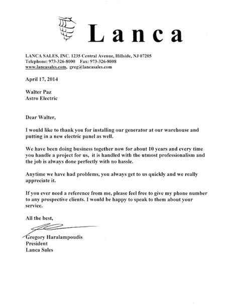 Introduction Letter Electrical Contractor Lanca Sales Letter Of Recommendation