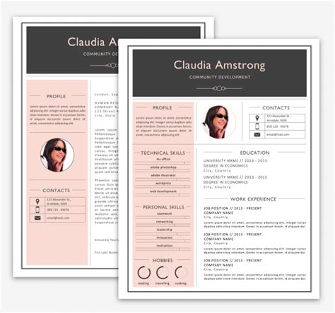 pink grey resume pack print resumes luvly