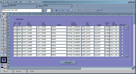 layout editor in oracle forms forms how to select multiple records in a block using