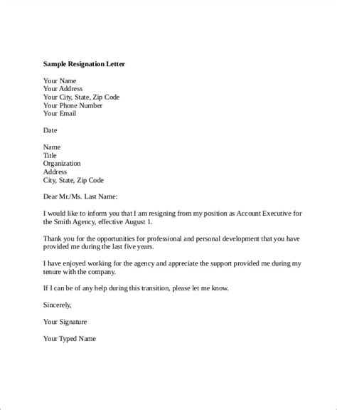 Resignation Letter In Email Attachment sle resignation letter for account executive