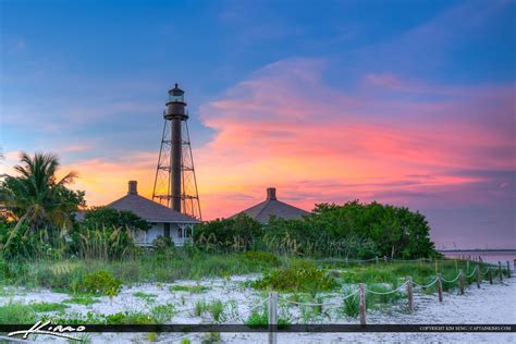 Sanibel Island Light by Sanibel Lighthouse Beautiful Sunset Colors