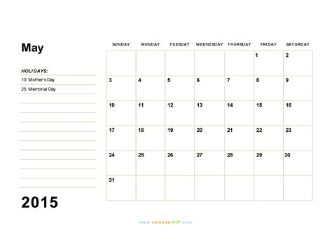 2015 calendar template pdf may 2015 calendar blank printable calendar template in