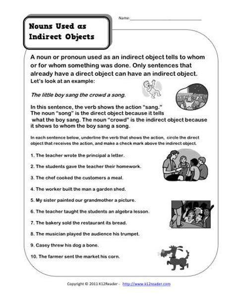 Indirect Object Worksheets by Nouns As Indirect Objects 3rd Grade Noun Worksheet