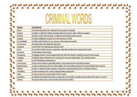 printable criminal justice worksheets criminal words worksheet free esl printable worksheets
