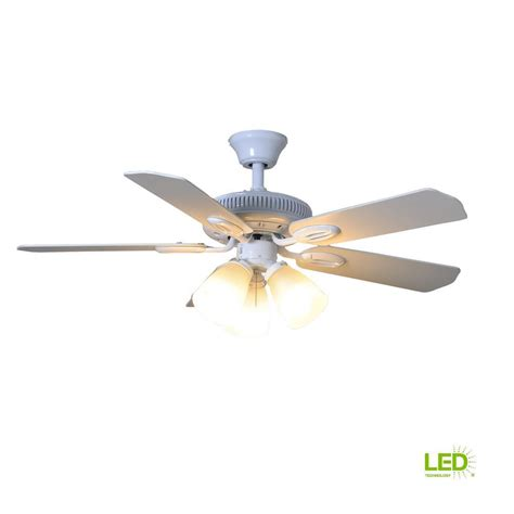 42 ceiling fan with light hton bay glendale 42 in indoor white ceiling fan with