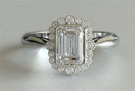vintage emerald and cut engagement ring new