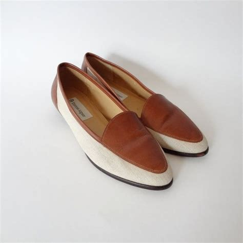 etienne aigner shoes flats shoes 8 etienne aigner flats brown leather and linen