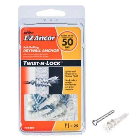 e z ancor twist n lock 50 lb drywall anchors with screws