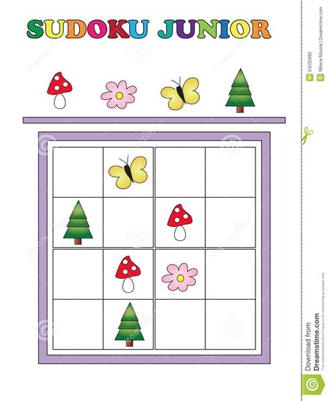 printable junior sudoku sudoku junior stock illustration image of cartoon flower