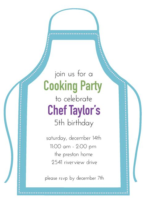 Young Chefs Party Adventures In Party Planning Weelicious Pered Chef Invitation Template