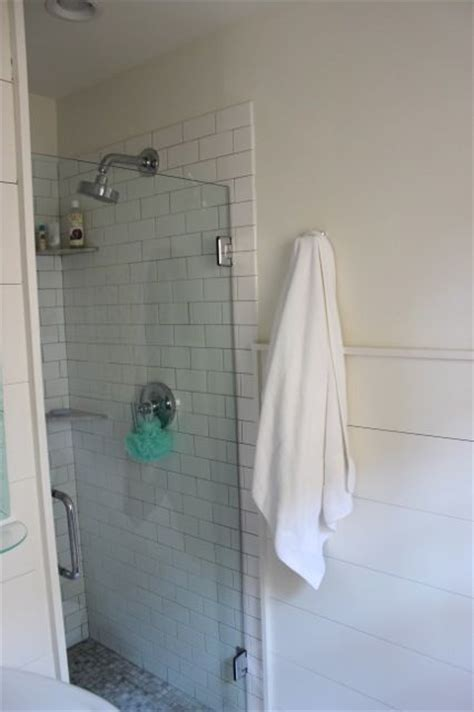 subway tile, horizontal shiplap wainscoting , stall shower