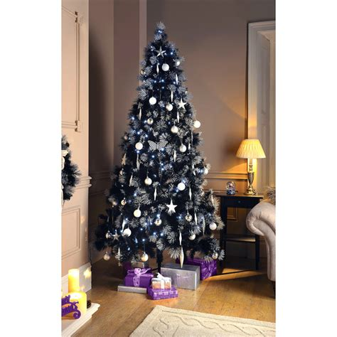 luxury glitter tipped black christmas tree 7ft xmas