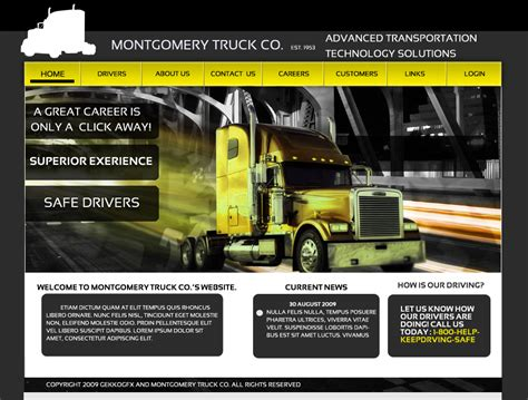 Trucking Website Template By Gekkogfx On Deviantart Truck Transport Website Templates Free