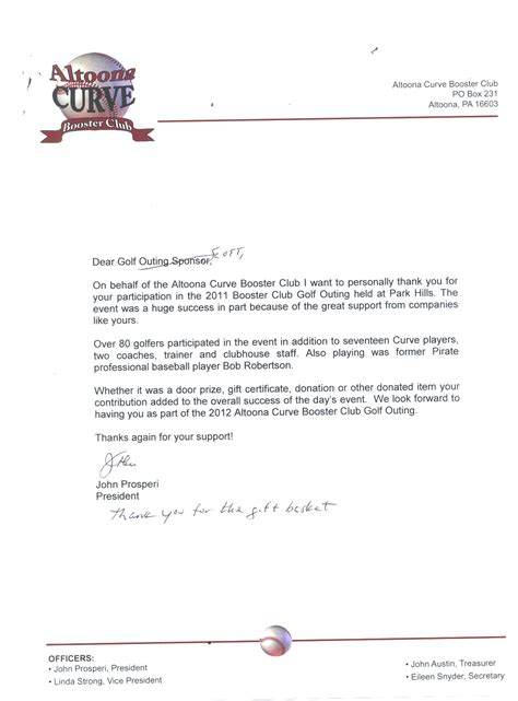 Donation Letter For Booster Club Professionals Auto 187 Community Feedback