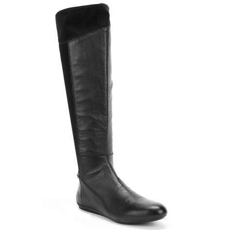 dkny sariella flat boots in black black leather