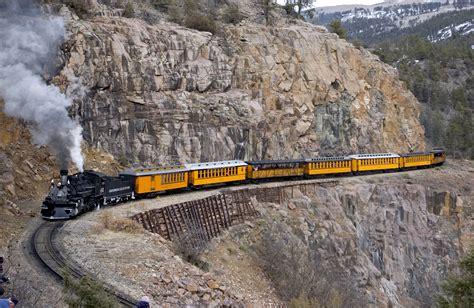 official durango silverton narrow gauge railroad train the yellow passenger cars of the durango and silverton
