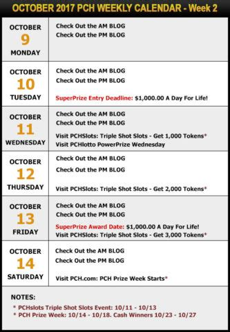 Pch Winner October 13 2017 - your pch schedule new sweepstakes for october pch blog