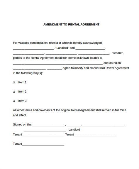 contract amendment template lease amendment form 10 free documents in pdf doc