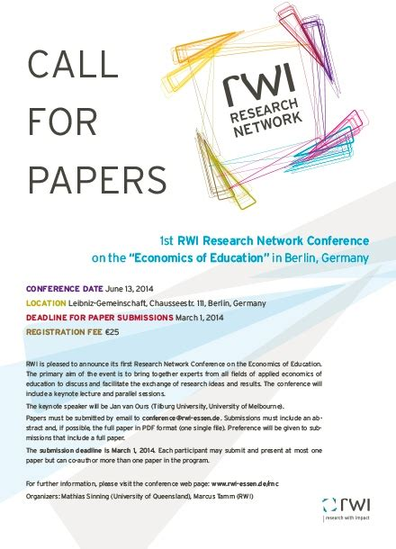 call for research papers rwi essen research network conference call for papers