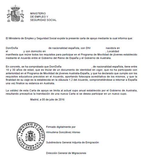 ejemplo de carta para la visa solicitar work and visa australia para espa 241 oles