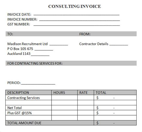 8 Consulting Invoice Sles Sle Templates Business Plan Template Consulting Services
