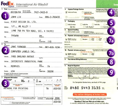 fedex service guide air waybill