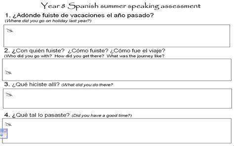 practice exercises year 8 spanish