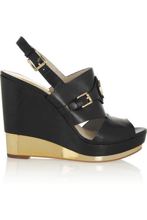 Sandal Wedges Wg12 Black 1 michael michael kors leather wedge slingback sandals in gold black lyst