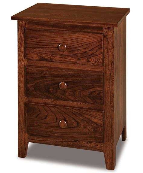 narrow nightstand with drawers shaker narrow 3 drawer nightstand amish direct furniture