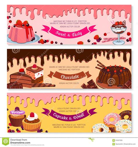 design banner ice cream cake dessert and ice cream banner set design stock vector