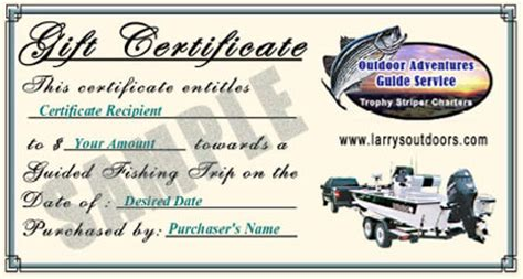 fishing gift certificate template gift certificates now available