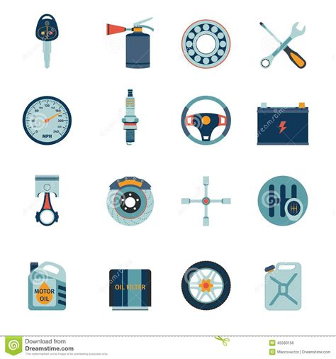 design service icon vector car parts icons flat stock vector image 45560156