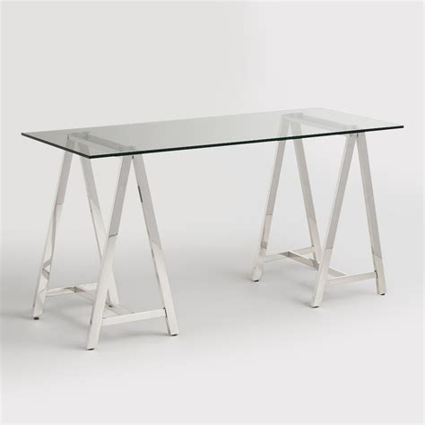 glass and chrome desk glass and chrome colton mix match desk market