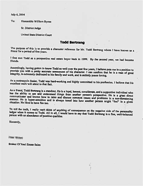 Character Reference Letter Template To Judge 10 Sle Character Reference Letter To Judge Hr Cover Letter