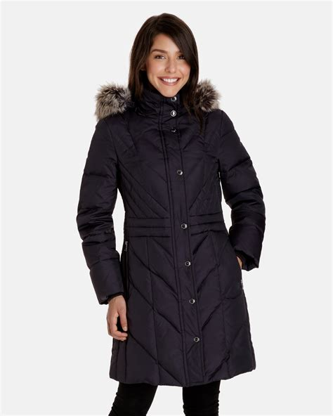 Peyton Women's Quilted Down Coat   Detachable Hood