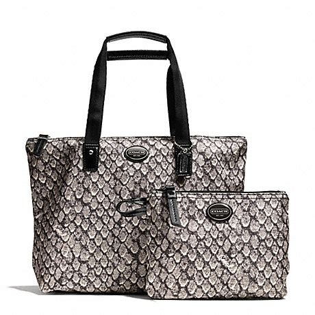 Coach Ergo Printed Python Large Tote by Coach F77455 Getaway Snake Print Small Packable Tote