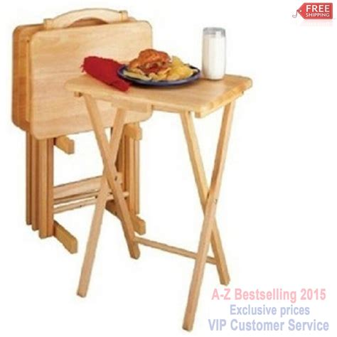 Dinner Tray by Folding Tv Tray Set Dinner Table Wood Stand Serving Snack