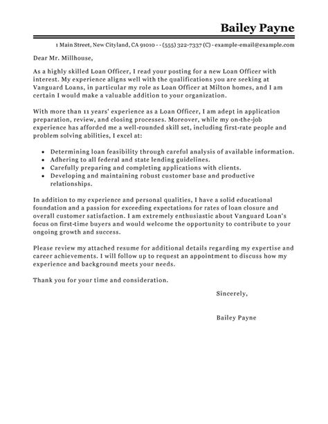 loan officer cover letter exles finance cover letter sles livecareer