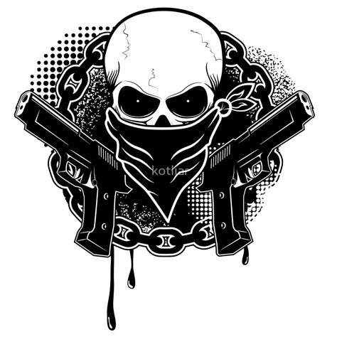 imagenes de calaveras y armas quot skull with guns quot by kotliar redbubble