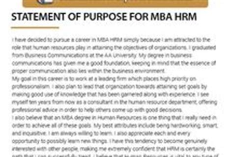 Hrm And Finance Mba by Mba Statement Of Purpose Sles Mstatement On