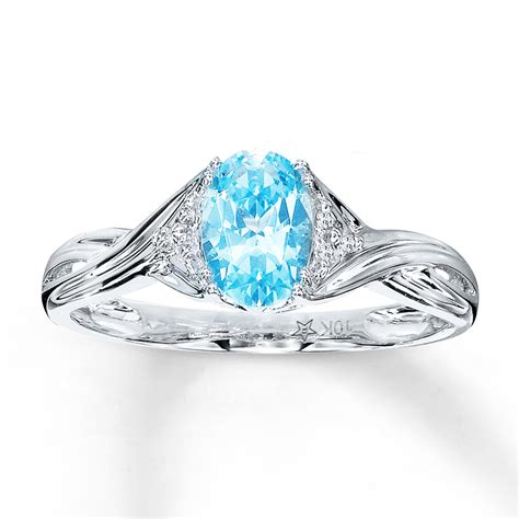 blue topaz ring oval cut with diamonds 10k white gold