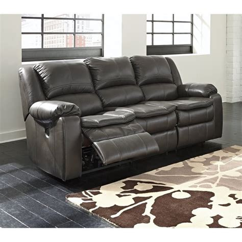 long reclining sofa ashley long knight faux leather reclining sofa in gray