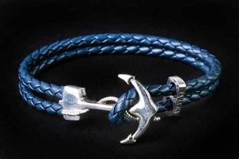 Bravelet Leather Gelang Etnik Anchor Silver s silver anchor with navy leather bracelet edellie